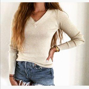 NEW Willi Smith Metallic Gold Beige V-Neck Sweater